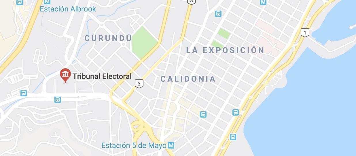 Mapa indicaciones Tribunal Electoral Ciudad de Panama