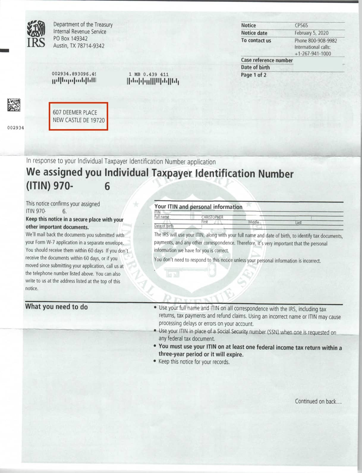 ITIN-Individual-Identification-Number-Physical-Result-Letter-issued-by-the-IRS-first-page