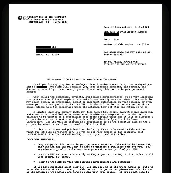 IRS EIN Verification Letter